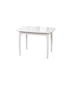 Стол кухонный раздвижной №40 ДН4, белый/стекло белое глянец, вставка белая