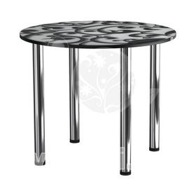 Стол кухонный стеклянный с фотопечатью КРФ 90 см круглый № 122