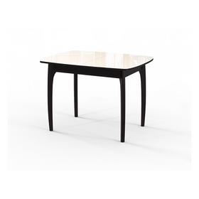 Стол кухонный раздвижной №40 ДН4, венге/стекло бежевое, вставка бежевая