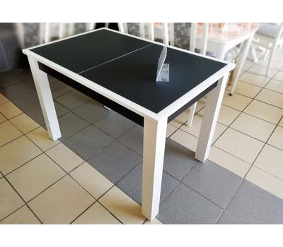 Стол кухонный раздвижной Васанти-С белый / пвх черное/ обвязка белая
