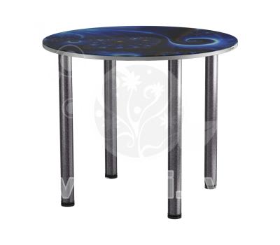 Стол кухонный стеклянный с фотопечатью КРФ 90 см круглый № 118