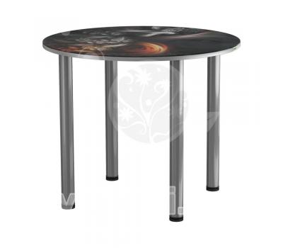 Стол кухонный стеклянный с фотопечатью КРФ 90 см круглый № 78