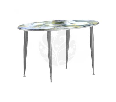 Стол кухонный стеклянный с фотопечатью ОФ овал № 70