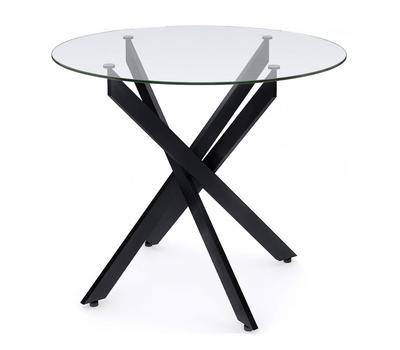 Стол кухонный Dikline R90 стекло/ножки черный металл