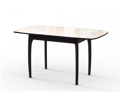 Стол кухонный раздвижной М15 ДН4, венге/стекло бежевое, вставка бежевая