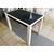 Стол кухонный раздвижной Васанти-С черный с белым кантом / пвх белое / обвязка черная